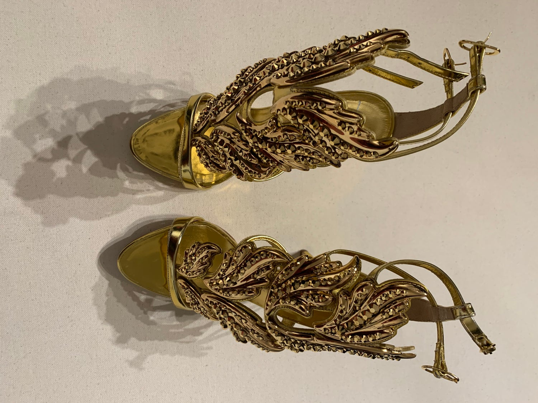 "Image of Giuseppe Zanotti ""Cruel Summer"" Gold Sandal"