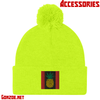 Chiefers Co. Logo Embroidered Beanie With The Fuzzy Ball On Top! (Neon Yellow)