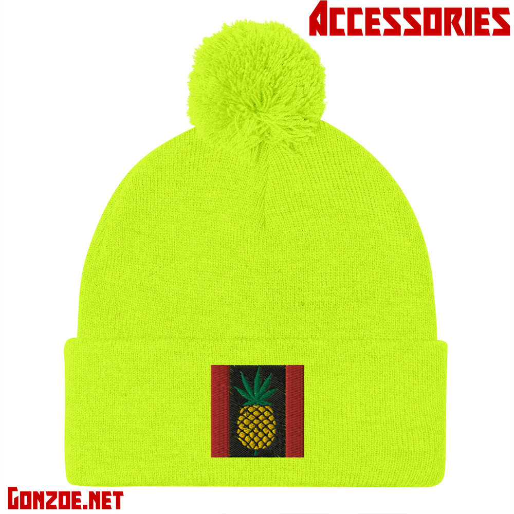 Image of Chiefers Co. Logo Embroidered Beanie With The Fuzzy Ball On Top! (Neon Yellow)
