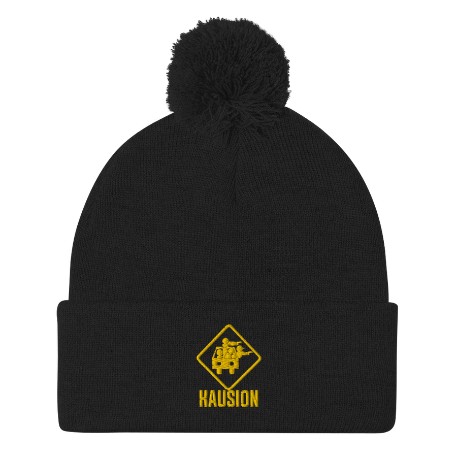 Image of Classic Kausion Logo Embroidered Beanie With The Fuzzy Ball On Top! (Black)