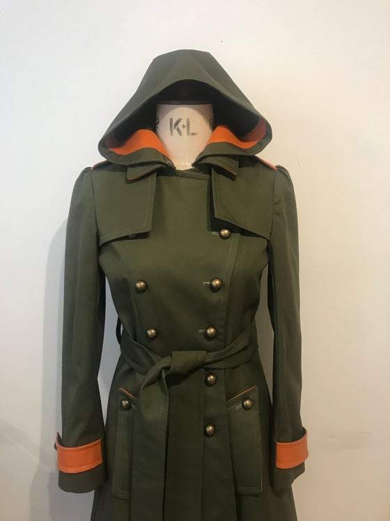 Image of Trench coat with leather and detachable hood