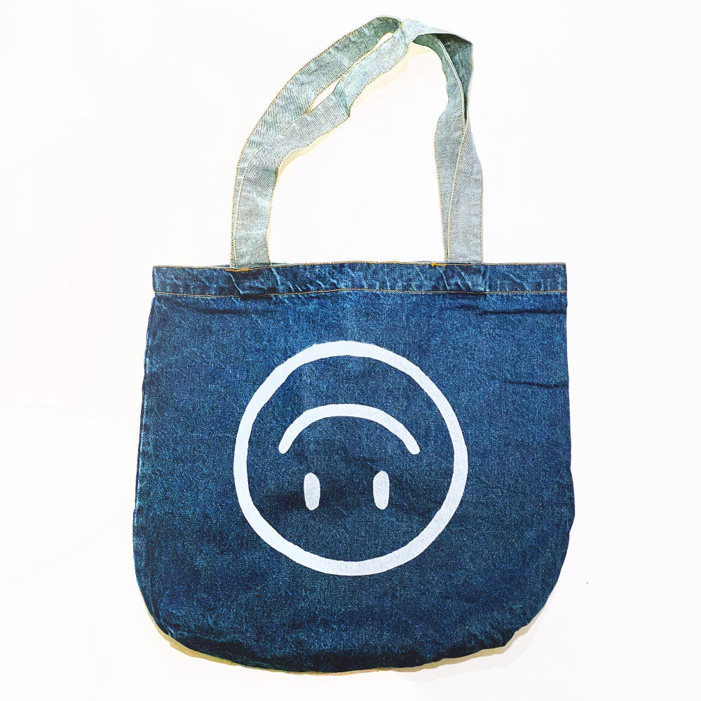 Image of Upside Down Happy Face - Denim Tote