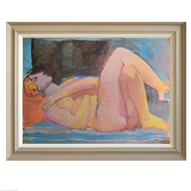 Image of Large, 1985 Painting, 'Female Nude,' Jean Langlois (1923-2014)