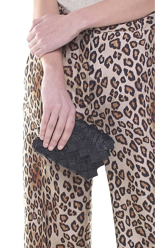 Image of Yup mini clutch in pelle nero galuchat