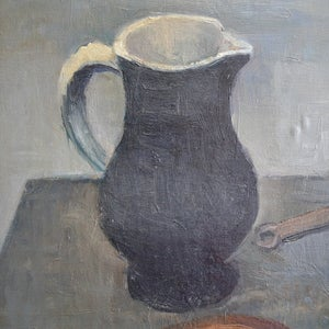 Image of Large, 1950 Painting, 'Still Life with Black Jug,' Jean Langlois (1923-2014)