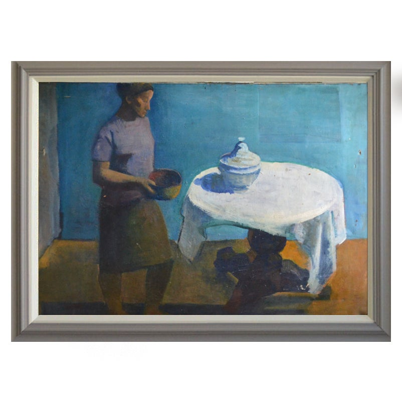 Image of Large, 1964 Painting, 'White Table Cloth,' Jean Langlois (1923-2014)