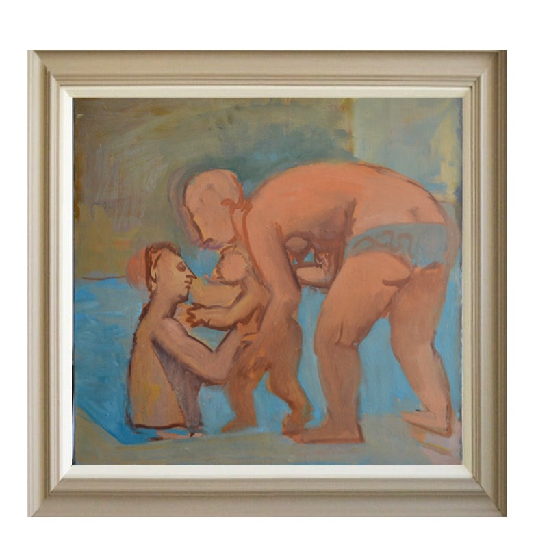 Image of Large, 1975 Painting, 'Bathers,' Jean Langlois (1923-2014)