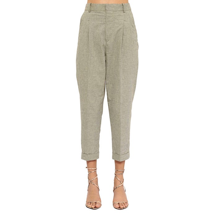 Image of ISABEL MARANT ÉTOILE CROPPED COTON CANVAS TROUSERS