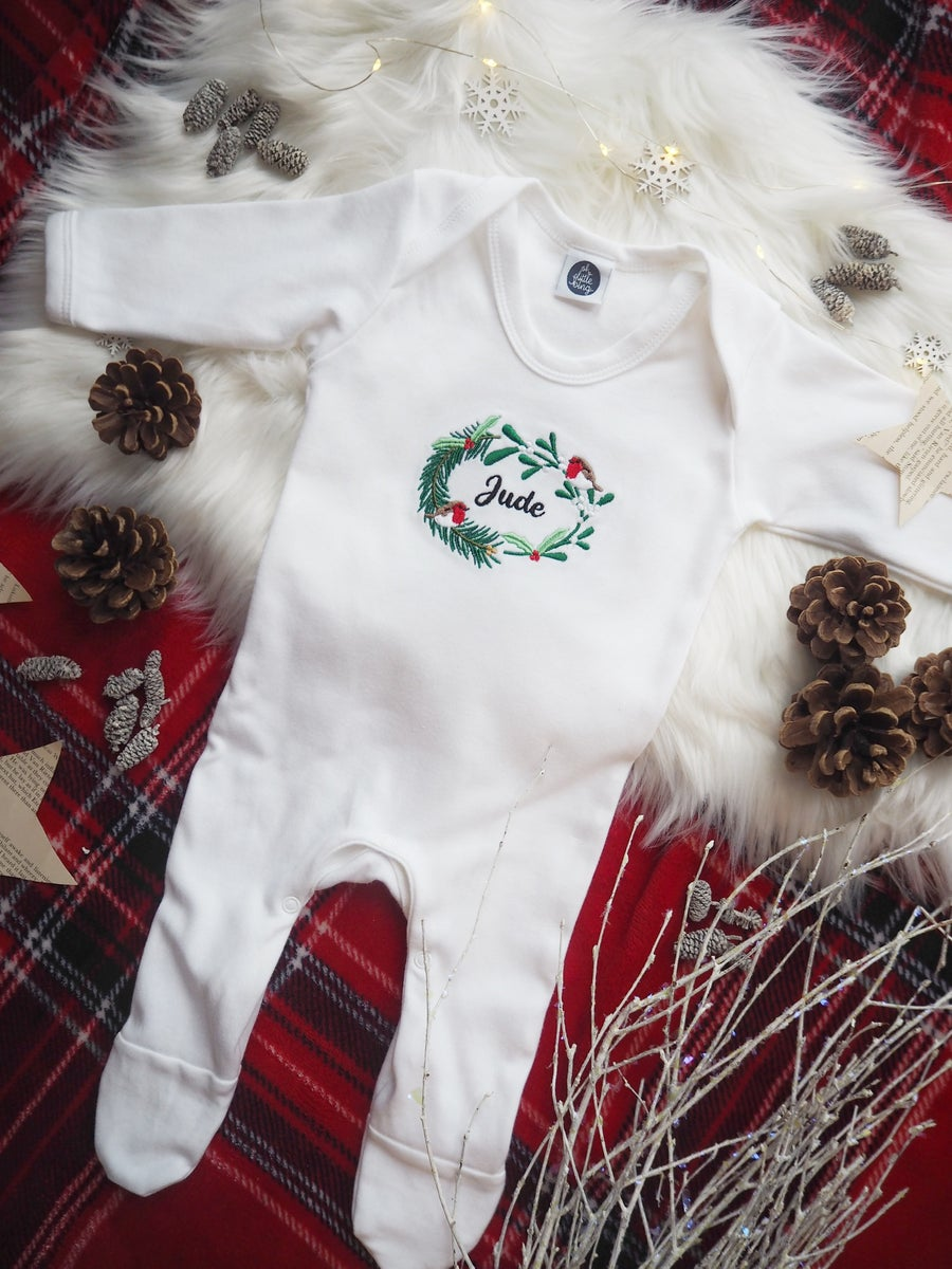 Image of When Robins Appear - White Baby Grow