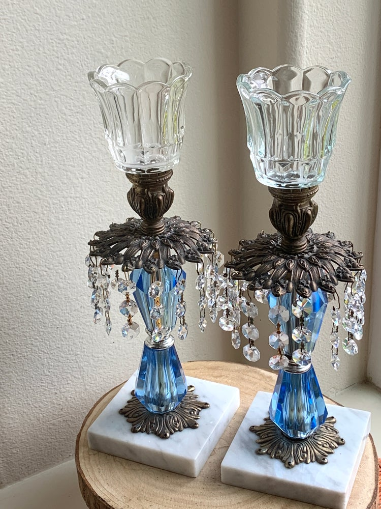 Image of A pair of vintage blue crystal and lucite Candlestands with marble base