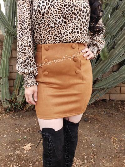 Image of Fabiola Suede Skirt (mocha)