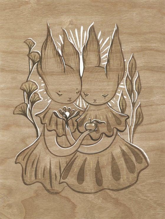 Image of Kindred II gouache on wood paper study