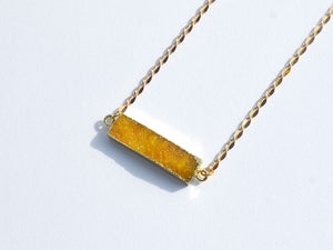 Image of druzy bar long gold necklace