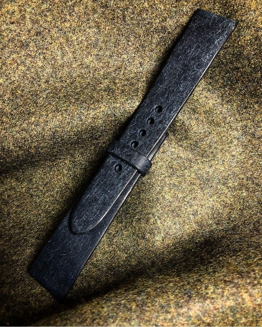 Image of SAMPLE SALE Blue distressed calfskin vintage watch-strap