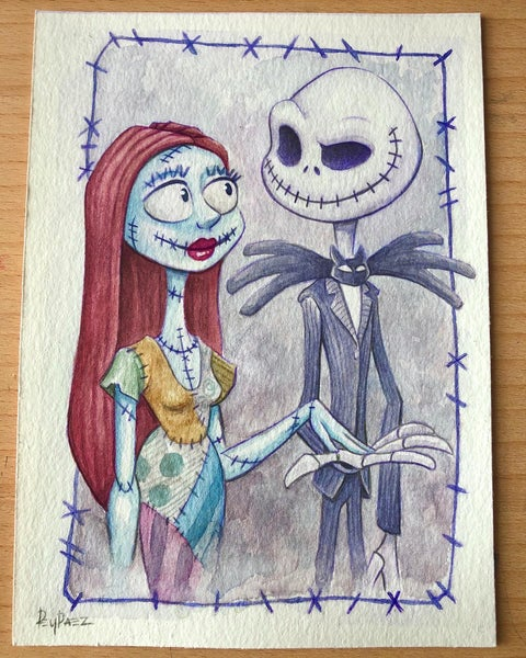 Image of Jack and sally (watercolor painting)
