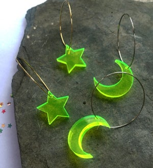 Image of Neon Yellow Moon / Star Hoop Earrings