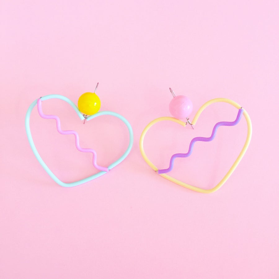 Image of Sweetheart earrings- icecream and sweet dreams