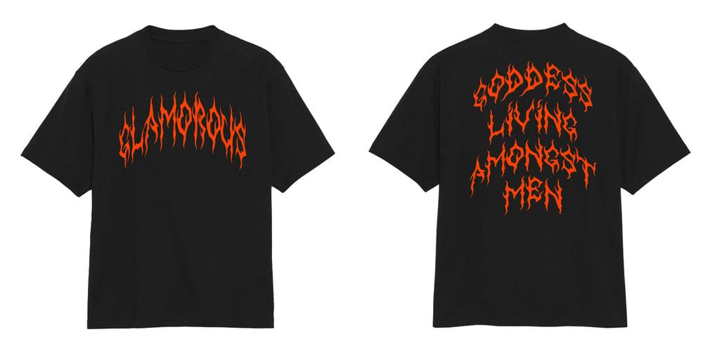 Image of Glamorous Goddess Blood Orange Black T Shirt | Exclusive Goddess Aura Release