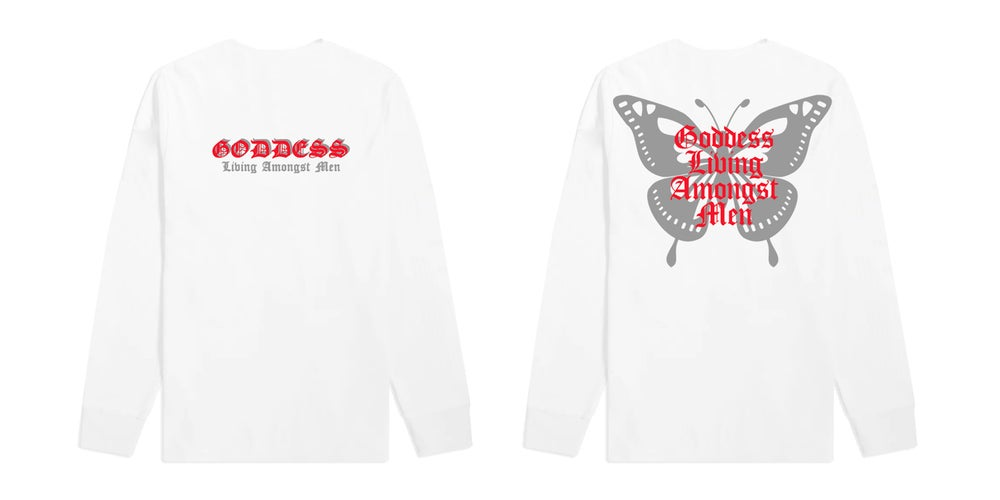 Image of Butterfly Wings White Long Sleeve T Shirt | Exclusive Goddess Aura Release