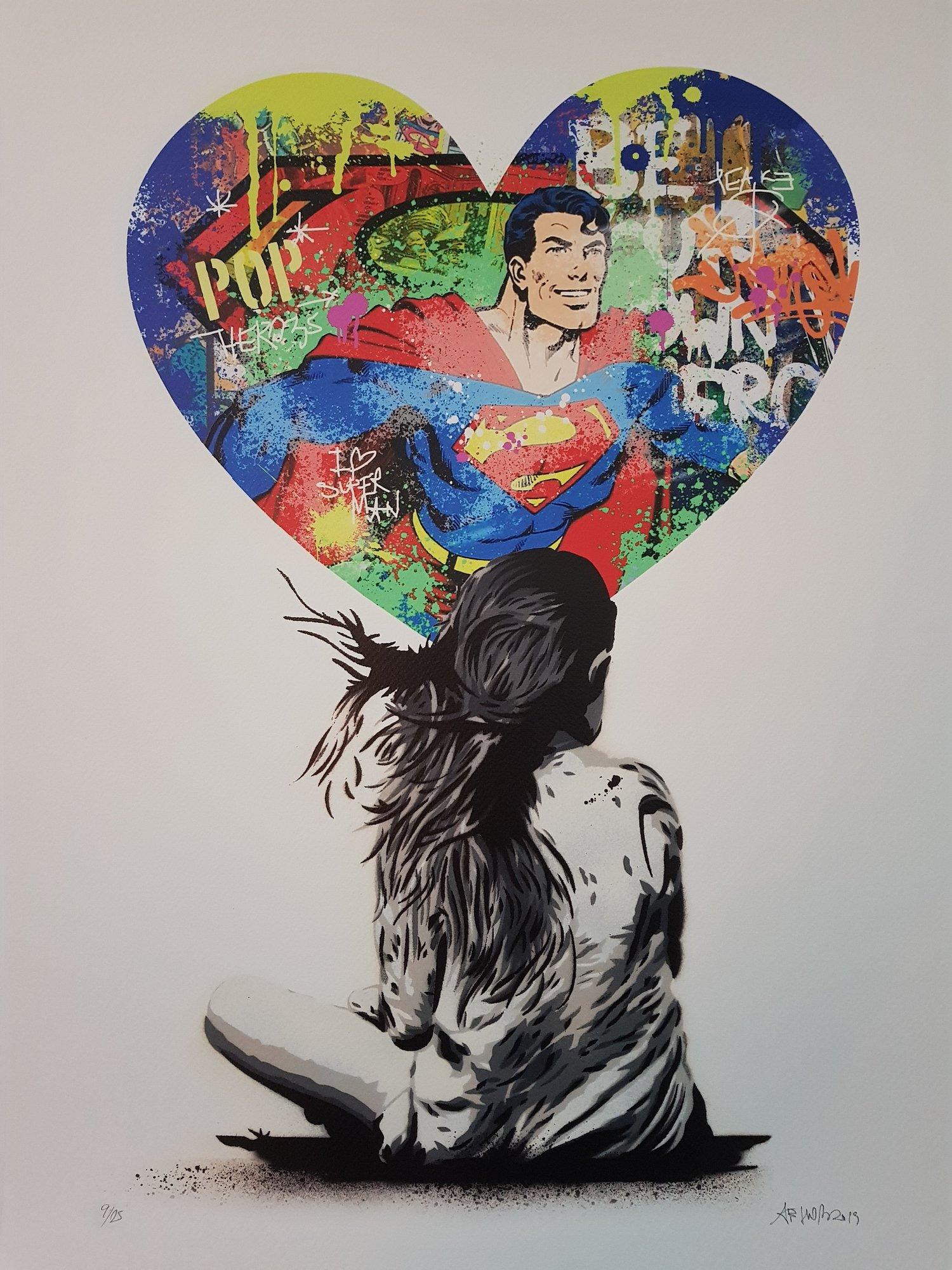 "Image of ALESSIO-B SUPERHERO SERIES ""SUPERMAN"" - LTD ED OF JUST 25 - 50CM X 70CM"