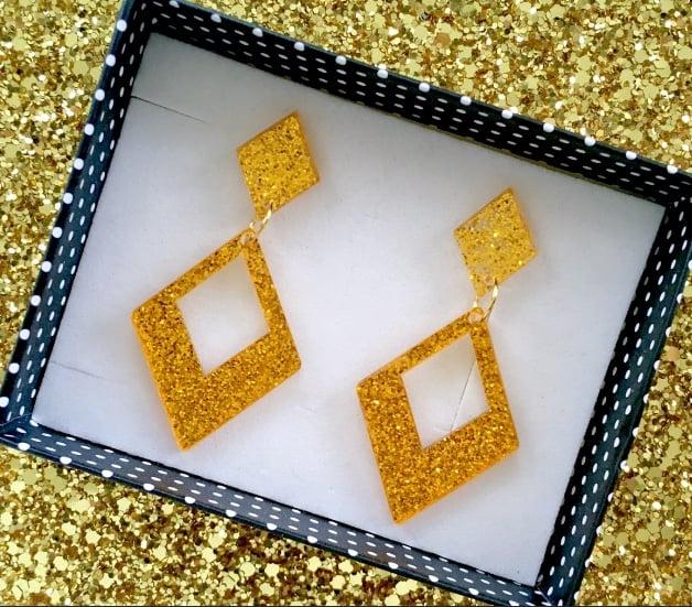 Image of Glamour Gal Glitter Earrings - Gold Delight