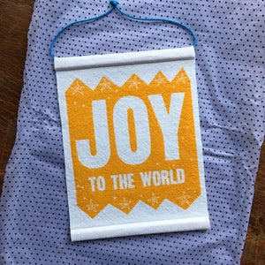 Image of Joy To The World screenprinted felt wall hanging