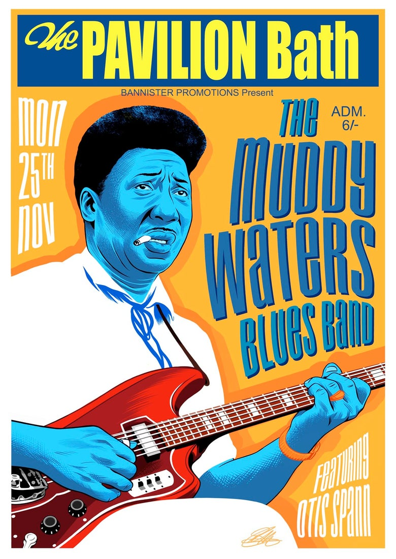 Image of MUDDY WATERS GIG POSTER SIGNED GICLEE PRINT (16.5 X 11.7 INCH)  LIMITED TO 20