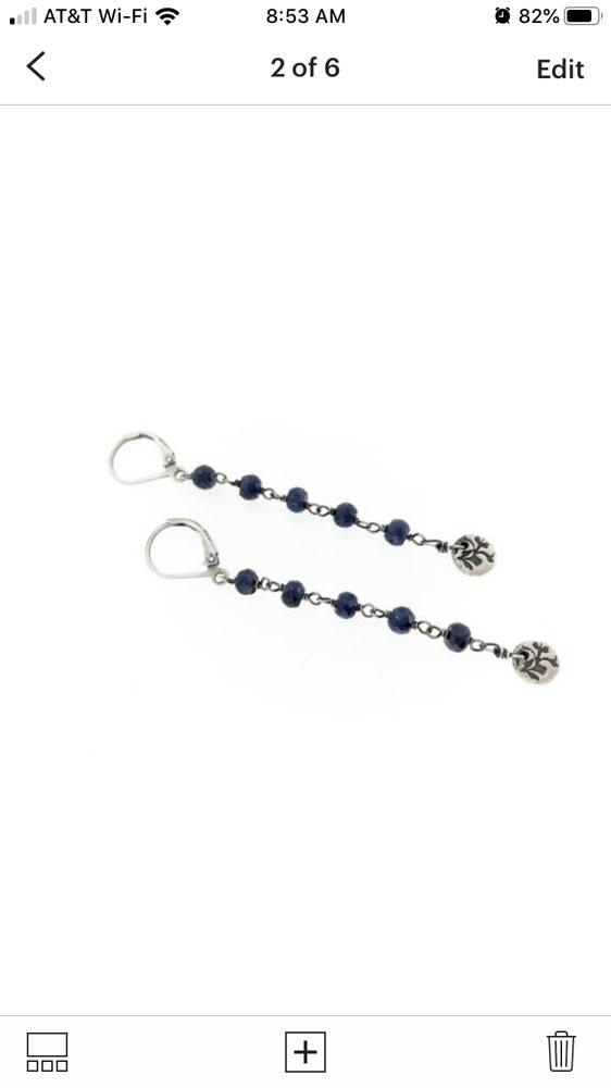 Image of Blue sapphire dangle earrings