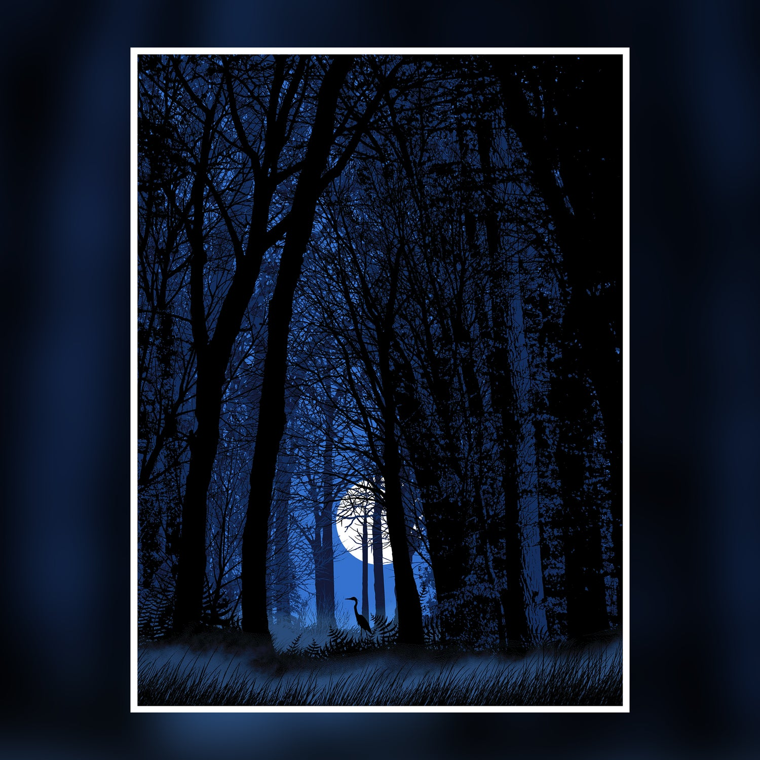 "Image of 3 copies available - ""Crane in the woods"" - Moon variant"
