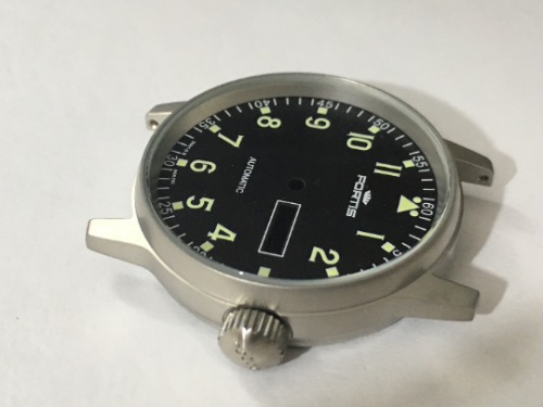 Image of FORTIS FLIEGER COMPLETE GENTS WATCH CASE SET MINT BLACK DIAL,DAY & DATE.