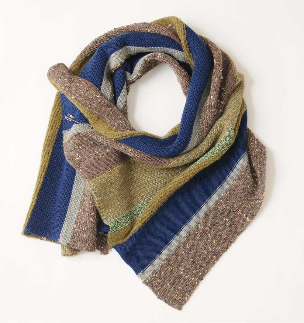 Image of Garter Stitch Wrap / Blue and Natural