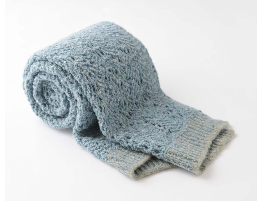 Image of Tweedy Donegal Lacy Shawl / Mist Blue