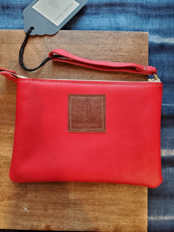 Image of Red leather wristlet