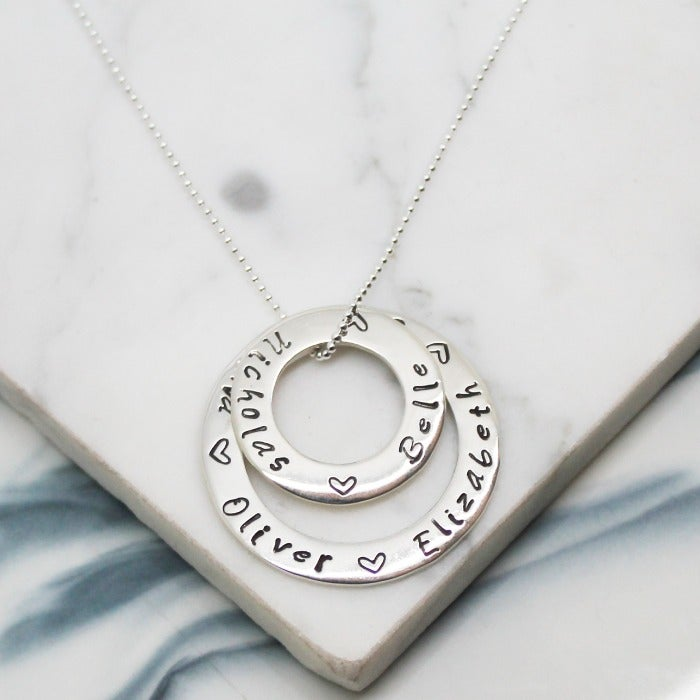 Image of Personalised Large and and Small Sterling Silver Corcles of Love Necklace