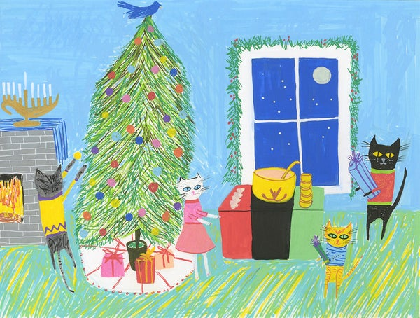 Image of Kitty throws a holiday party. Original illustration.