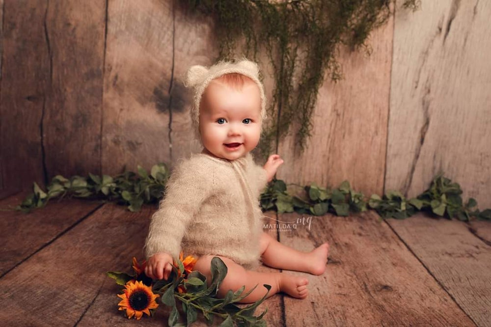 Image of Sitter teddy bear romper set. Preorder