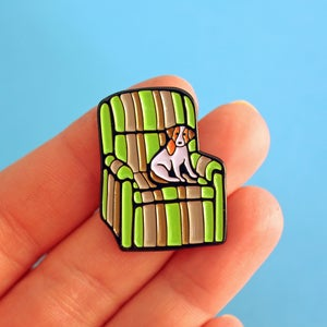 Image of SLIGHT SECONDS - Marty's Ugly chair & Eddie the dog, Frasier-inspired enamel lapel pin