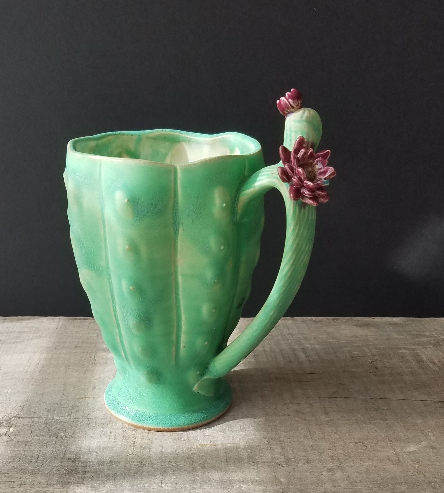 Image of Cactus Mug - Bright Green w/skully blossum
