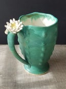 Image of Tall Cactus Mug - Jade Green w/white blossom