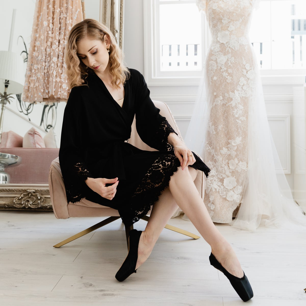 Image of Black Silk Robe with French Lace
