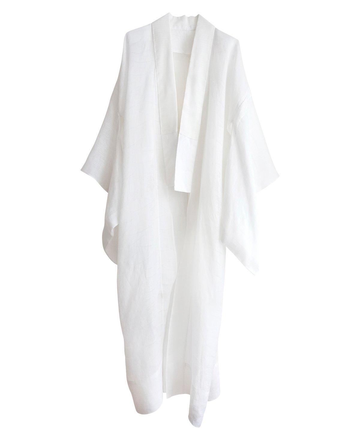 Image of Hvid kimono af bomuldshør med hulmønster