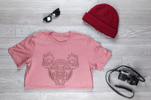 Image of Tribal Moose T-shirt- Heather Mauve