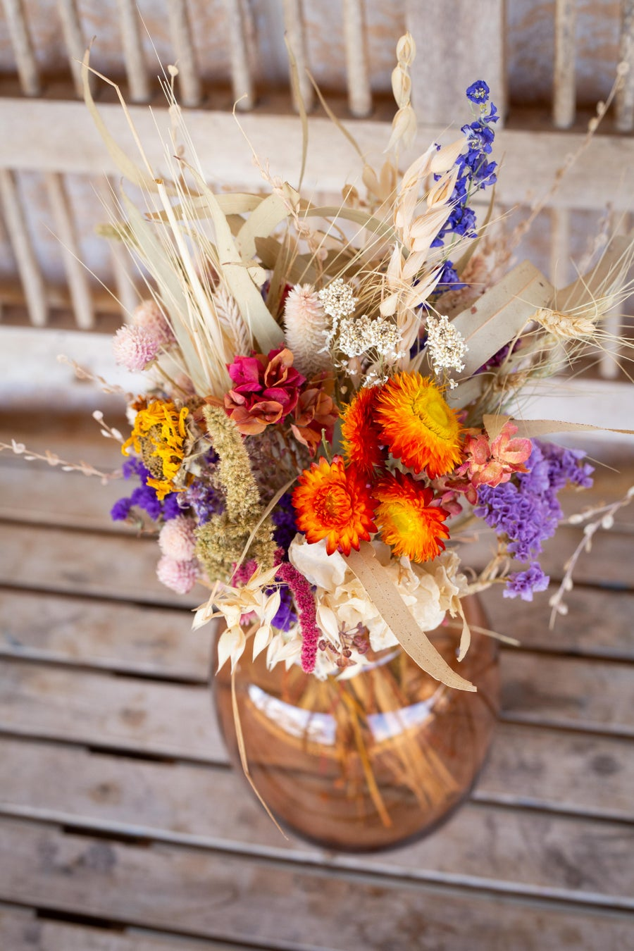 Image of Dried Flower Posy in Amber Vase