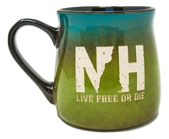 Image of Etched Pottery Mug- Blue/Green