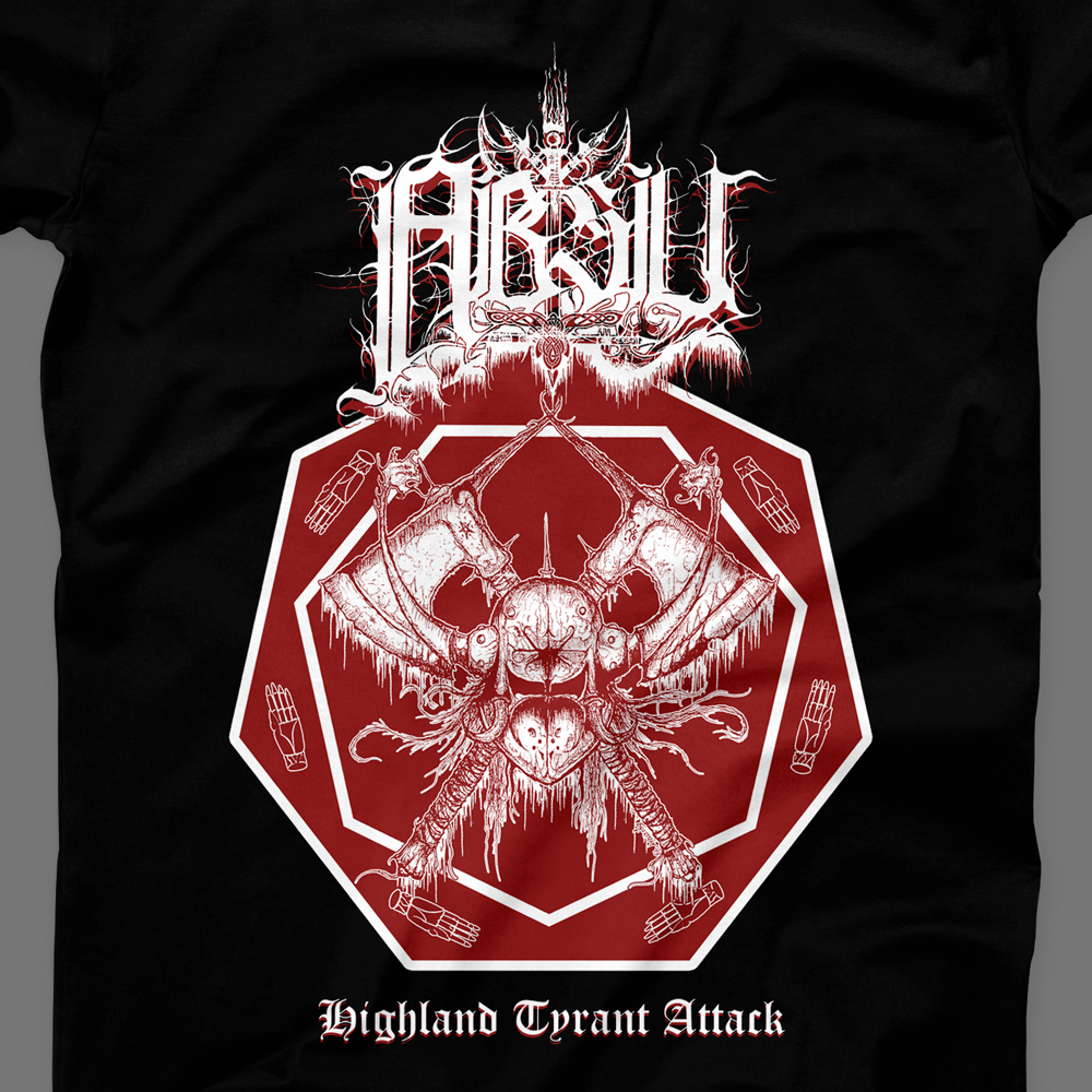 Image of ABSU - HIGHLAND TYRANT ATTACK (RED & WHITE PRINT) 1