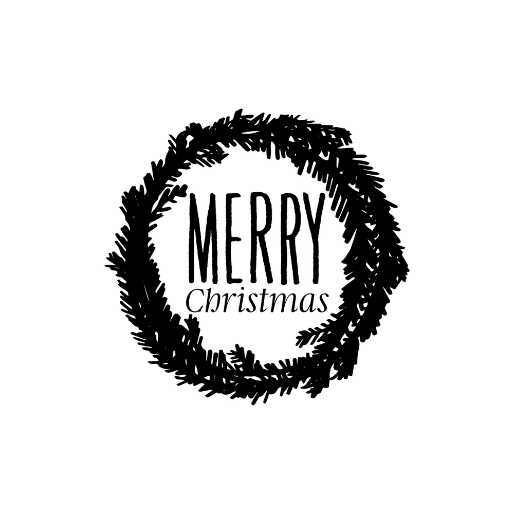 Image of Wreath Merry Christmas Tag Stamp