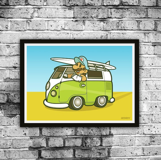Image of GONE SURFING! Limited Edition Print plus free mystery stickers!