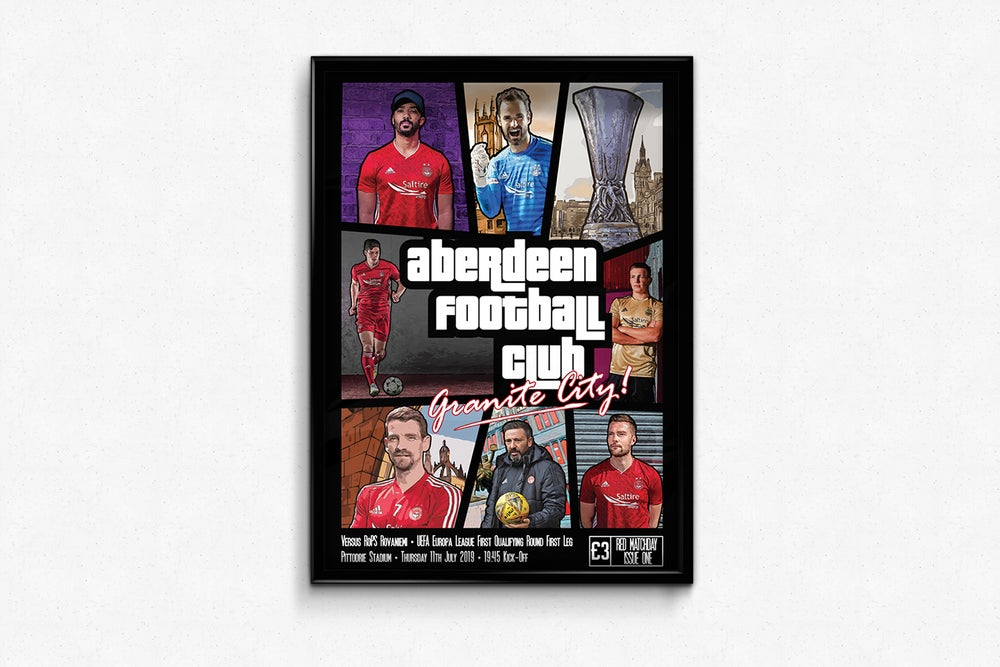 Image of Aberdeen FC Red Matchday Print - Europa League Qualifying Round One