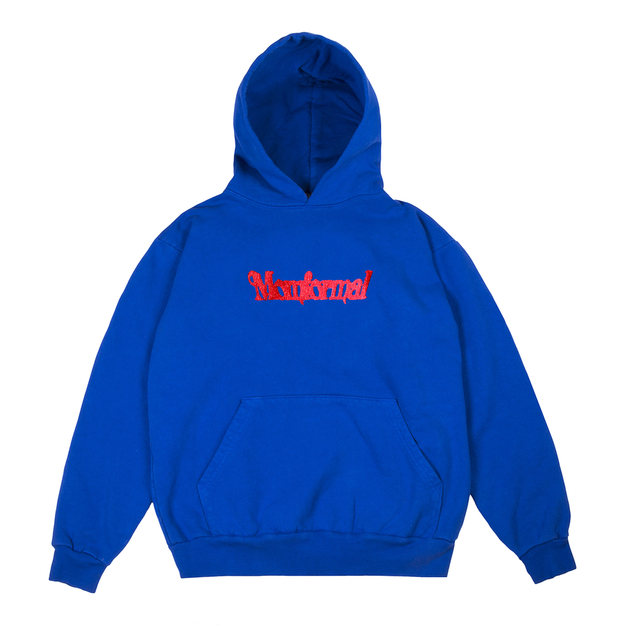 Image of EMBROIDERED ???? LOGO HOODIE (BLUE)