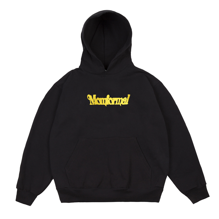Image of EMBROIDERED ???? LOGO HOODIE (BLACK)